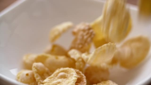 Corn flakes falling in white bowl in slow motion. Close up view video