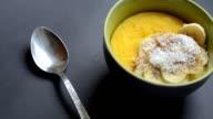 Corn porridge (polenta, hominy). Healthy breakfast concept. Food Background video
