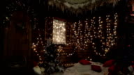 Corner wooden house beautifully decorated for Christmas video