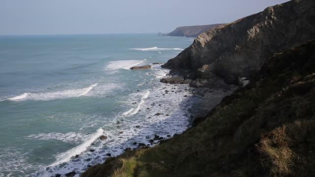 Cornish coast north east Porthtowan and St Agnes Cornwall UK video