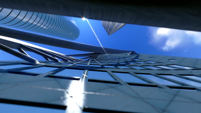 Corporate buildings and time lapse clouds, architectural view video
