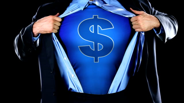Corporate Superhero with Dollar Sign on Chest - Money Superman video