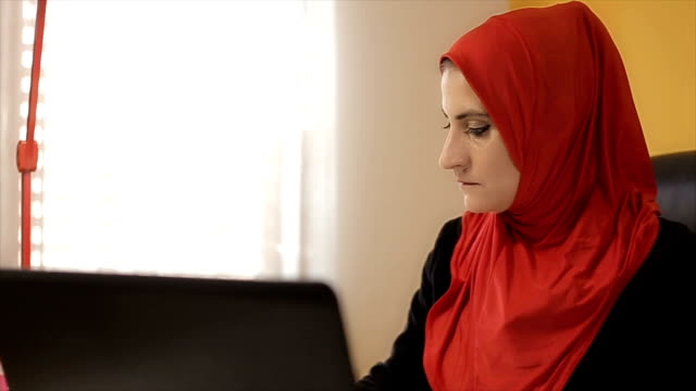 Corporate woman manager in office in Middle East video