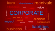 Corporate Words Cloud Animation Set. Red, green, blue background. video