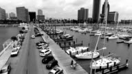 Corpus Christi , Texas Low Aerial Over T-Head Marina Bayfront the Downtown Skyline Cityscape in the background Black and white Finish video