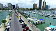 Corpus Christi Texas Low Aerial Over T-Head Marina Bayfront the Downtown Skyline Cityscape video