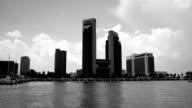 Corpus Christi Texas Skyline on the Bay black and white Coastal Beach Town along the Gulf Coast video