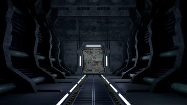Corridor. Doors with green screen and alpha matte video
