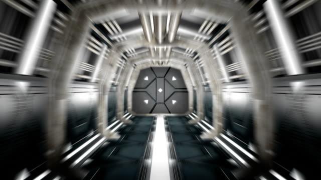 Corridor with opening door and alpha matte video