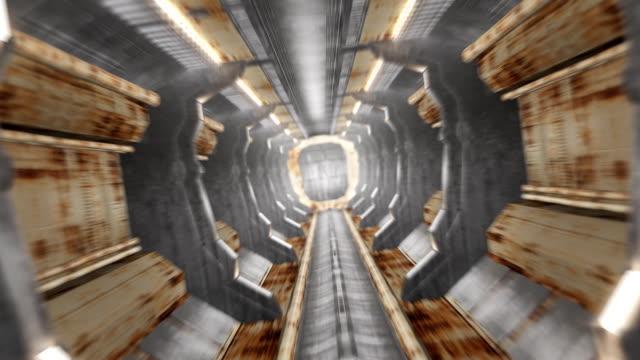 Corridor with rusty interior and opening door including alpha matte video