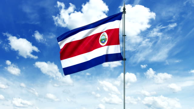 Costa Rica flag animation, alpha channel video