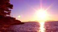 Cote d'Azur: Beautiful Mediterranean sunset video