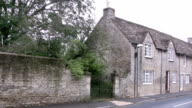 Cotswolds village Fairford, panning along the main road video