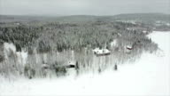 AERIAL: Cottages in snowy woods video