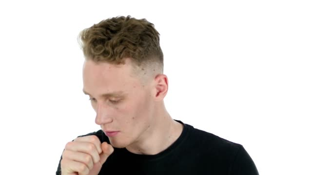 Cough, Sick Young Man on White Background video