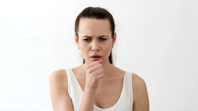 Cough, Sick Young Woman Coughing, Throat Infection, Portrait video