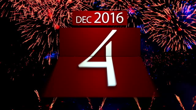 Countdown calendar for the new year 2017 with fireworks video