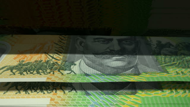 Counting Australian Dollar Banknotes Flipping video