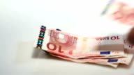 Counting Euro banknotes - financial concept video