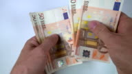 Counting Euro banknotes video