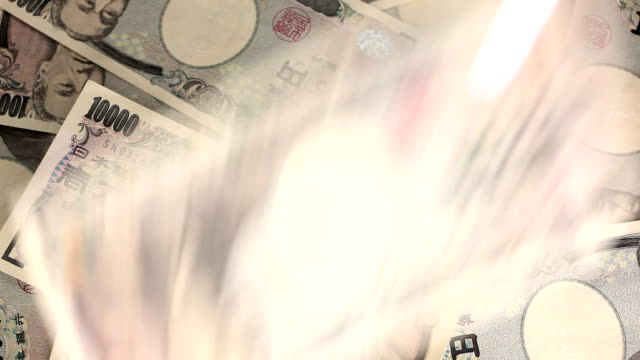 Counting Japanese yen. video