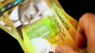 Counting money - Canadian Dollar video
