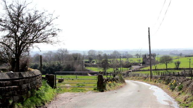 Countryside Lane - Road & Roving Hills - Natural Wild English Backgrounds video