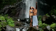 Couple at waterfall video