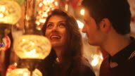Couple buying turkish lamps video