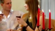 couple celebrating at restaurant video