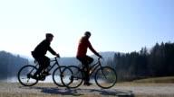 Couple cycling on a path next to a lake. video