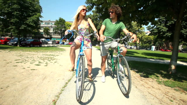 Couple cycling video
