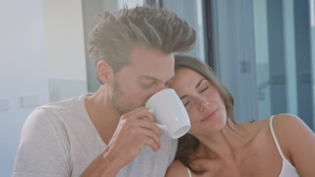 Couple drinking coffe video