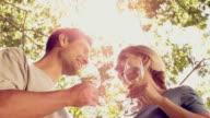 Couple drinking wine together in the park on sunny day video