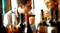 Couple drinking wine. video