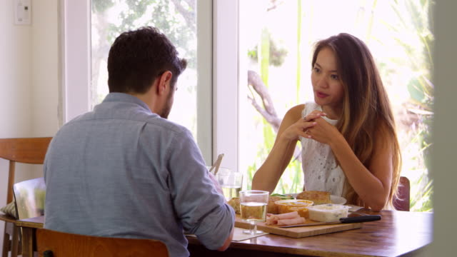 Couple Enjoying Meal At Home Together Shot In Slow Motion video