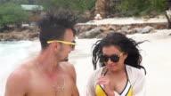 Couple Enjoying Romantic Beach Holiday video