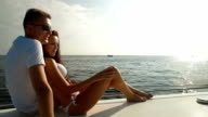 Couple Enjoying the Cruise on Luxury Yacht video