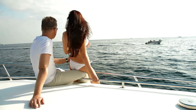 Couple Enjoying Vacation on a Speedboat video