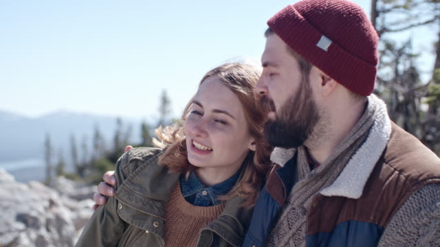 Couple Enjoying View High Up in Mountains video