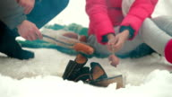 Couple Frying Sausages On Fire In The Winter Forest video