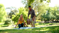 Couple having a picnic in the park video