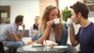 Couple Having an Italian Breakfast video