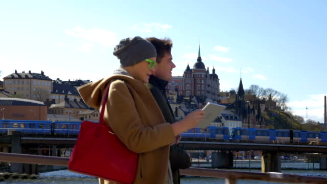 Couple having city outing video