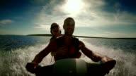 POV Couple Having Fun Riding A Jet Boat video