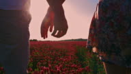 SLO MO Couple holding hands while walking among flowers video