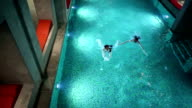 HD STOCK: Couple in a big swimming pool video
