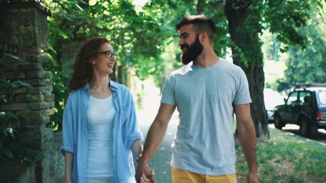 Couple in a romantic walk. video