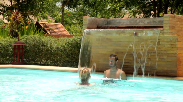 Couple in a Swimming Pool on Vacation video