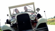 HD SUPER SLOW-MOTION: Couple In A Vintage Convertible Car video